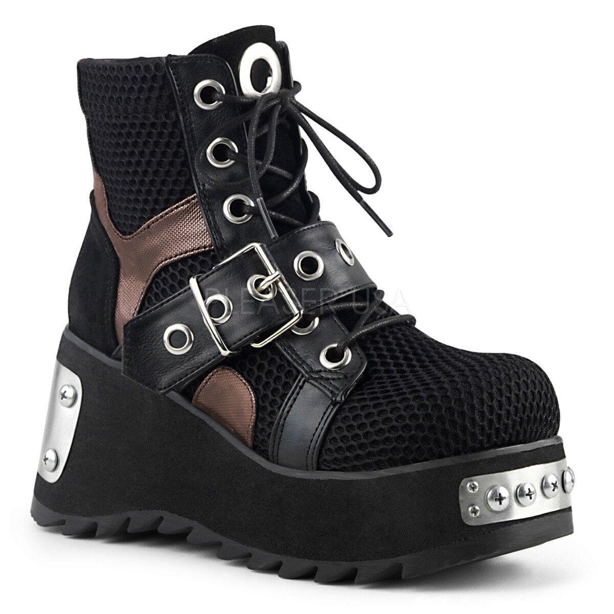 Demonia 3.5  Wedge Platform Platform Platform Industrial Black Punk Ankle Boots 6 7 8 9 10 11 6bde57