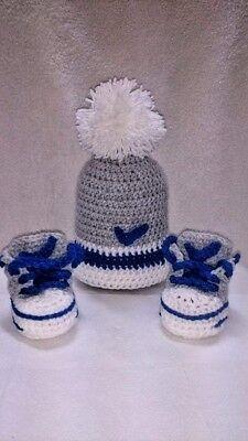 Zapatos de Bebé de Ganchillo hecho a mano y sombrero entrenadores Abotinados Botas Cordones Caps