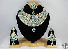Gold Plated Kundan's Style Zerconic Bollywood Necklace Set Earring Tika Jewelry