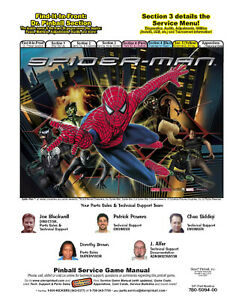 SPIDERMAN PINBALL MACHINE MANUAL - BALLY - STERN - FREE NEXT DAY FAST DELIVERY