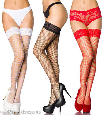 Sexy Netz Strümpfe Stockings Nylon Strapsstrümpfe Dessous OS schwarz weiß rot