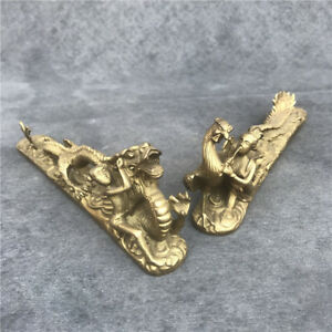 China FengShui Brass Auspicious Flying Dragon Phoenix Statue Pair paper weight