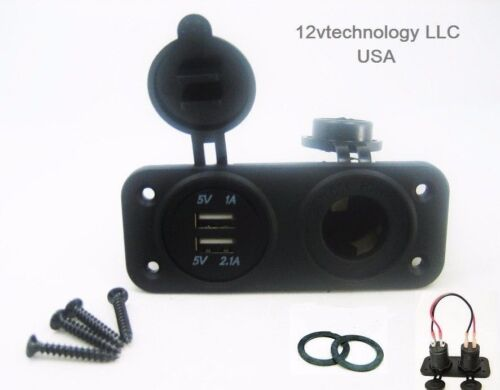 Dual USB Charger and Socket With Wires Panel Mount Marine 12V Jack Power Outlet