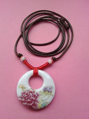 Adjustable Wax Cord Choker / Long Necklace Peony Ceramic Pendant Mother's Day