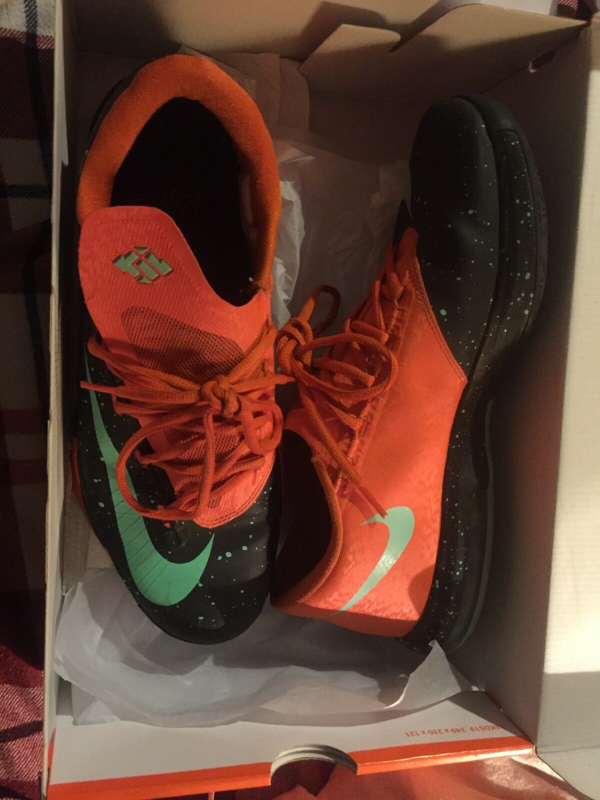 2013 Uomo nike kd vi texas nero / verde / luce arancione come scarpe da basket