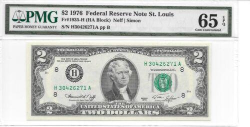 1976 St HA Block PMG 65 EPQ Choice Uncirculated Louis $2 FRN