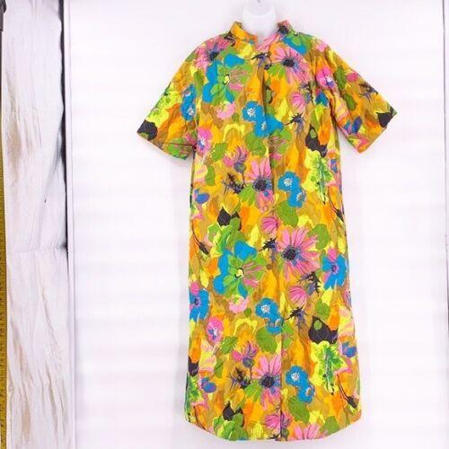 Vintage floral dress house coat 70s 60s medium