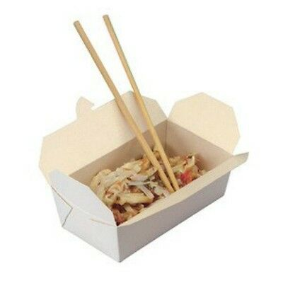 25 X White Oriental Food Box Flat Deli Takeaway Noodles Curries Rice Pasta
