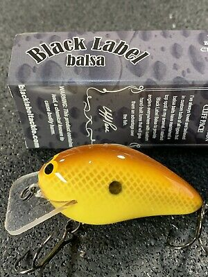 Black Label Tackle Custom Balsa Crankbait Hot Mustard Color Ricochet