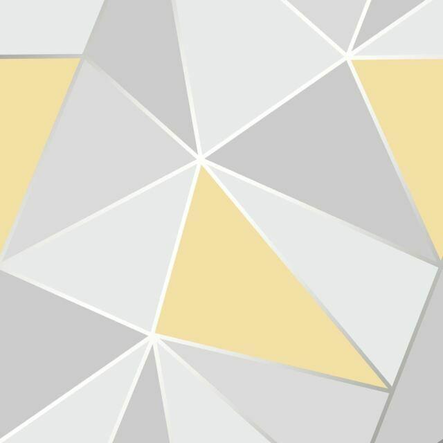 Fine Decor Fd41991 Apex Geometric Yellow Grey Wallpaper For Sale