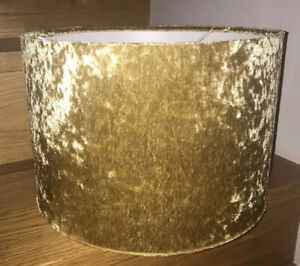 Crushed Green Velvet and Metallic Gold Lampshade