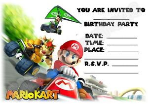 A5 NINTENDO CHILDRENS PARTY INVITATIONS X 12 MARIO KART eBay