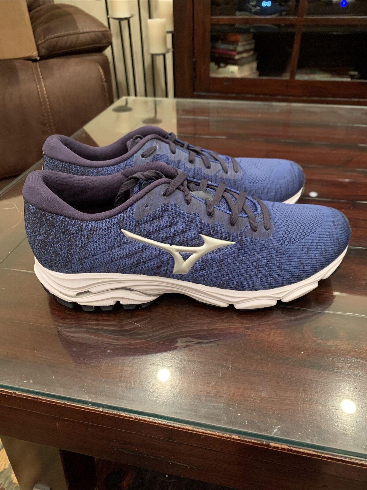 Mizuno Wave Inspire Waveknit Men Running Shoes Blue/Black Sz 9 D EU 42