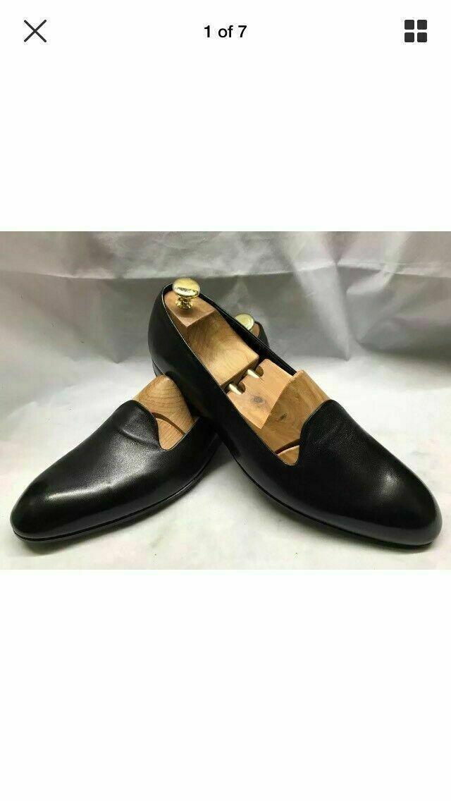 Handmade Herren Echtes Schwarzes Leder Einteiliges Kleid Slipon Schuh