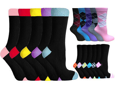 12 Pairs Designer Womens Cotton Rich Socks size 4-8 Argyle Diamond Design