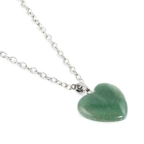 collier pendentif Gemme Guérison Minéral Collier Natural Quartz cœur forme
