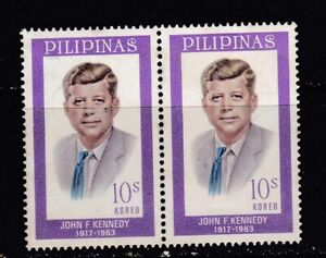Philippines-ERROR-1963-John-F-Kennedy-034-SHIFTED-BLUE-color-TIE-034-in-pair-mint-NH