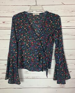 Chloe-amp-Katie-Women-039-s-XS-Extra-Small-Black-Floral-Long-Sleeve-Fall-Top-Blouse