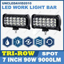 2X 7Inch 90W CREE LED Work Light Bar SPOT Tri-Row Offroad 4WD Truck PICKUP