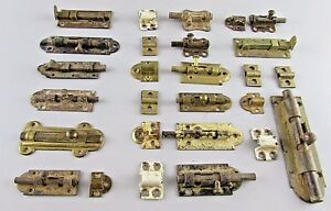 Lot-of-15-VTG-Antique-Slide-Latch-Latches-12-Ends-Cabinet-door-cupbaord-brass