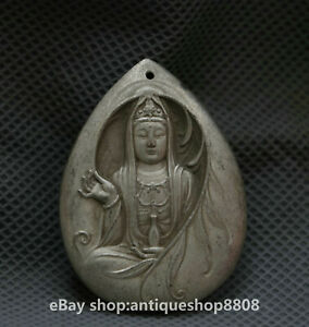 48MM-Chinese-Miao-Silver-Bodhisattva-Guan-Yin-Goddess-Buddha-Amulet-Pendant