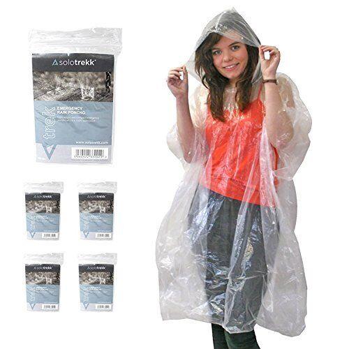Solotrekk Waterproof Rain Poncho x 5Clear Emergency Rain Ponchos 5pk