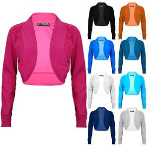 Womens-Long-Sleeve-Cotton-Crop-Top-Ladies-Rib-Bolero-Plus-Size-Stretch-Shrug-Top