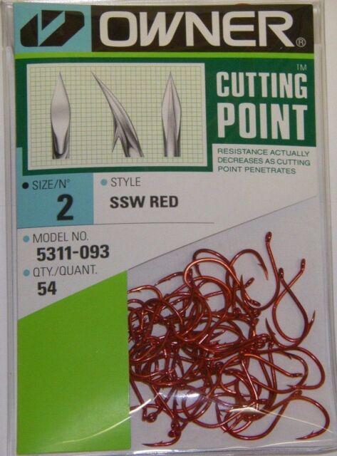 OWNER HOOKS SSW ALL PURPOSE BAIT 5311-093 SZ 2 QTY 54 RED STEELHEAD SALMON