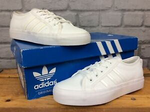 ADIDAS-OG-NIZZA-LO-WHITE-TRAINERS-LADIES-CHILDRENS-VARIOUS-SIZES-WHITE-HEEL