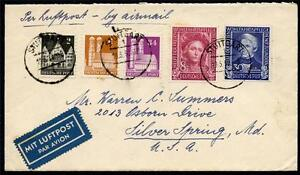 GERMANY FEDERAL 1950 COVER STUTTGART 5/19/50 TO SILVER SPRING AS SHOWN