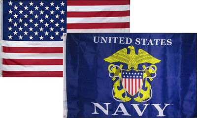RAM 3x5 Wholesale Combo USA American /& Navy Seabees USN Flag 3/'x5/' 2 Pack