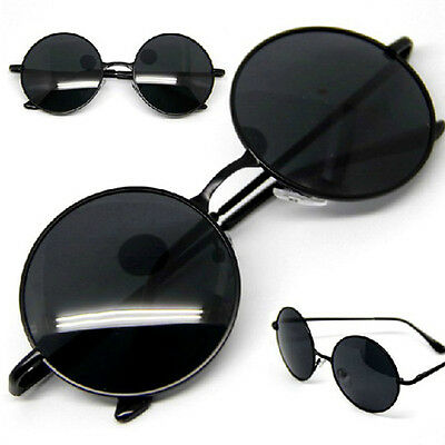 Vintage Retro Men Women Round Metal Frame Sunglasses  Eyewear Glasses Black Lens