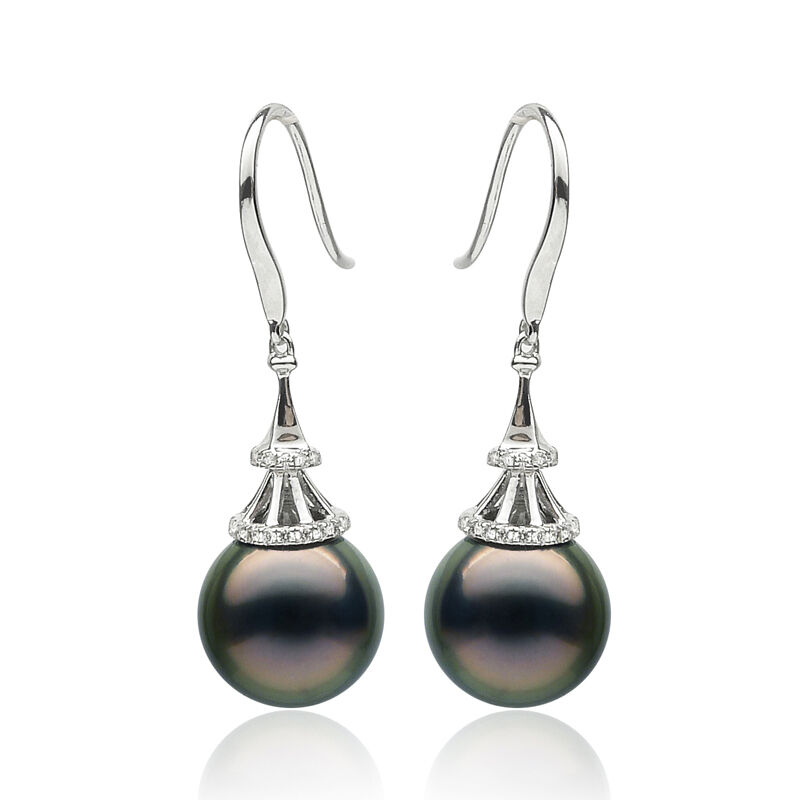 Luminous Green Tahitian Sea Pearl Diamond Drop Earrings 18k White gold 9.5-10mm