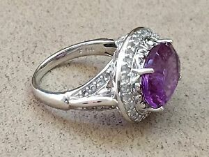 HSN-Victoria-Wieck-8-2-CT-Amethyst-amp-White-Topaz-Sterling-Silver-Ring-size-10