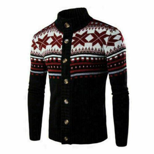 Men Casual Cardigan Knit Sweater Jacket Knitwear Coat Blazer Outdoor Blouse Tops