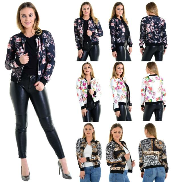 Womens Bomber Jackets Ladies Top Floral Rose Print Coats Zip up Casual Size 8-22