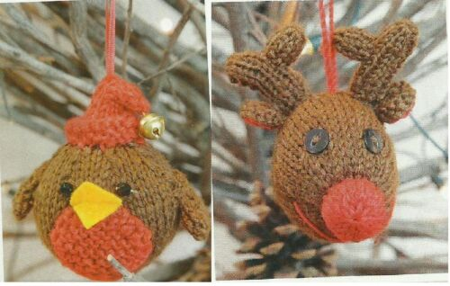 CHRISTMAS ROBIN AND REINDEER TREE DECORATIONS KNITTING  PATTERN