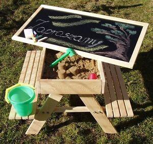 Favorit Kindersitzbank aus Holz, 2 Bänke, Sandkasten und Kreidetafel NU33