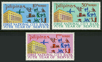 Stamps Philippines 1107-1109,mnh.1st Natl Architecture City Bank In The Philippines,70th Anniv.1971 Utmost In Convenience