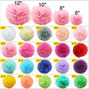 Mixed-Tissue-Paper-Pompoms-Wedding-Party-Decoration-Pom-Poms-Ball-5-Sizes-Lot-Du