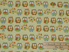 Hoot Hoot Hooray Owl Allover Fabric by the 1/2 yd #6503