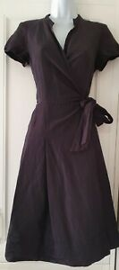 Womens Max Mara Weekend Black Pleated Linen Fit And Flare Wrap Dress 14.