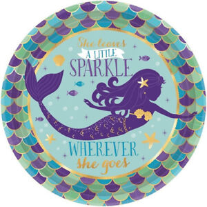 Image is loading MERMAID-WISHES-SMALL-PAPER-PLATES-8-Birthday-Party- MERMAID WISHES SMALL PAPER PLATES (8) ~ Birthday Party Supplies Cake