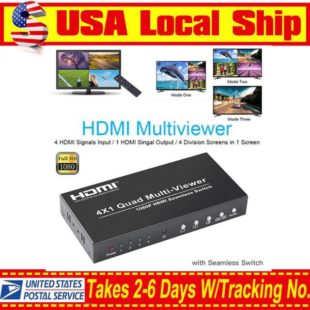 Seamless Switcher Remote 4X1 FHD HDMI Multi-viewer Converter PIP Quad Screen