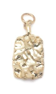 Nugget-Pendant-Yellow-Gold-Plated-Charm-For-Necklace-Chain-Christmas-Gift-Dangle