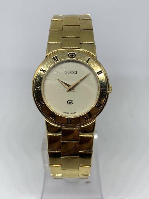7caaf7643 Vintage GUCCI 18k GOLD PLATED SWISS WATCH QUARTZ MODEL 3300L 26mm CASE  Ladies