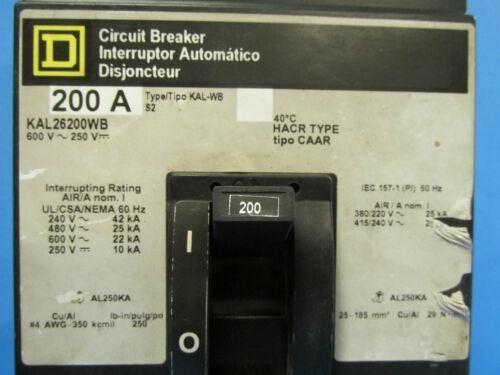 M-80 * SQUARE D 200 AMP 2 POLE CIRCUIT BREAKER KAL26200WB  ..........