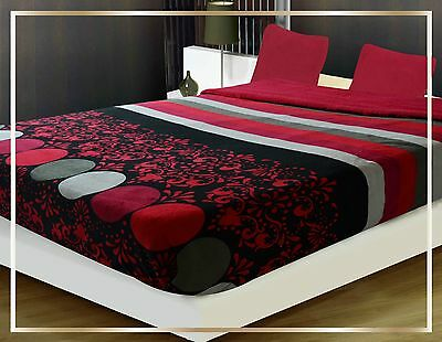 Queen THICK Sumptuous Soft warm sherpa bed Blanket Burgundy Black flower ACE 25
