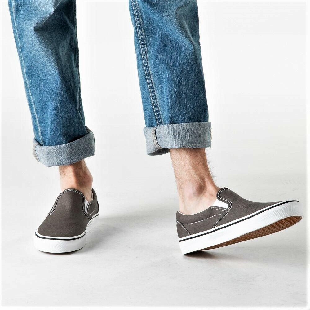 Vans Classic Slip-On Skate Shoes Men's Size 11 Charcoal Gray True White