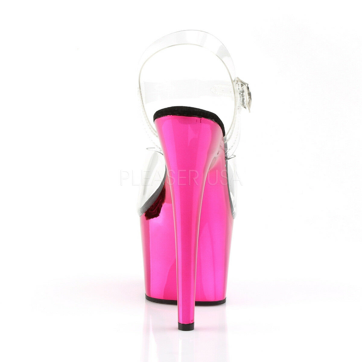 PLEASER Sexy 7  Heel Hot Pink Pink Pink Chrome Platform Pole Dancer Stripper Clear shoes 433113